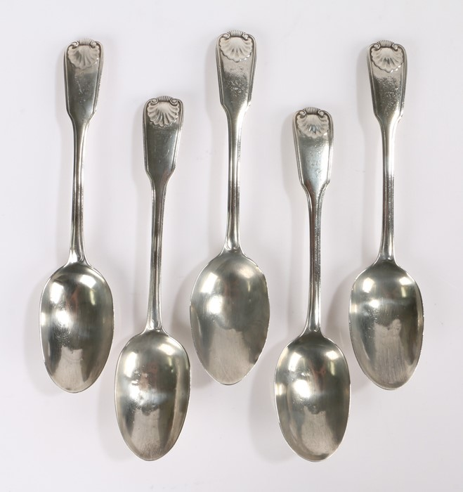 Matched set of five Victorian silver table spoons, four London 1872, one London 1881, maker
