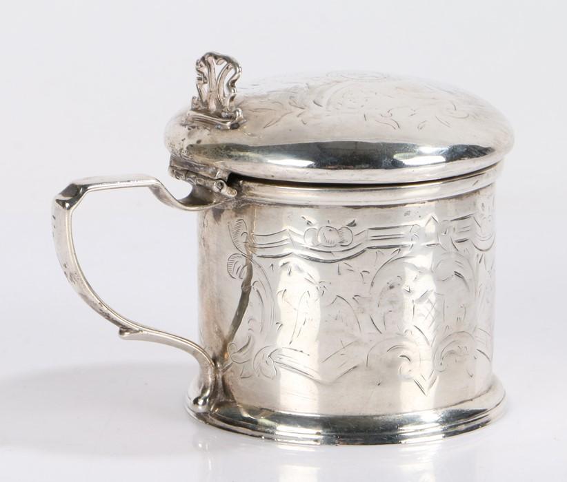 Victorian silver mustard pot and cover, London 1877, makerWilliam Hutton & Sons (Robert Hutton),