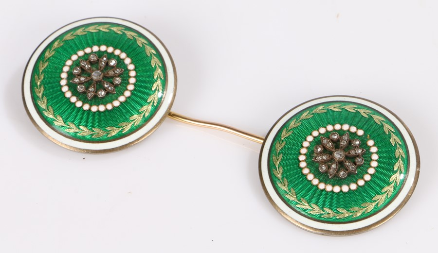 Early 20th Century diamond and enamel dual target brooch, the pin with a green guilloche enamel