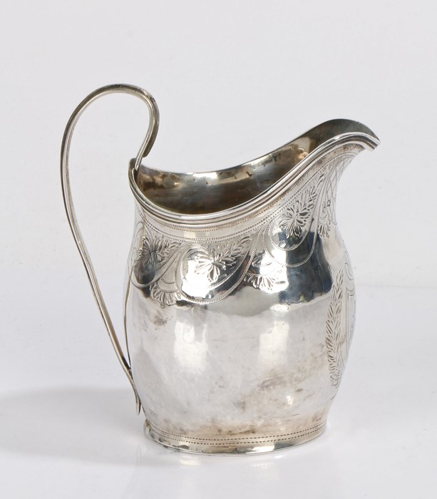 George III silver cream jug, London 1799, makers mark rubbed, with loop handle, the body with