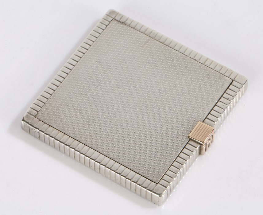 Edward VIII F O S silver powder compact retailed by Asprey, London 1936, the reeded and engine