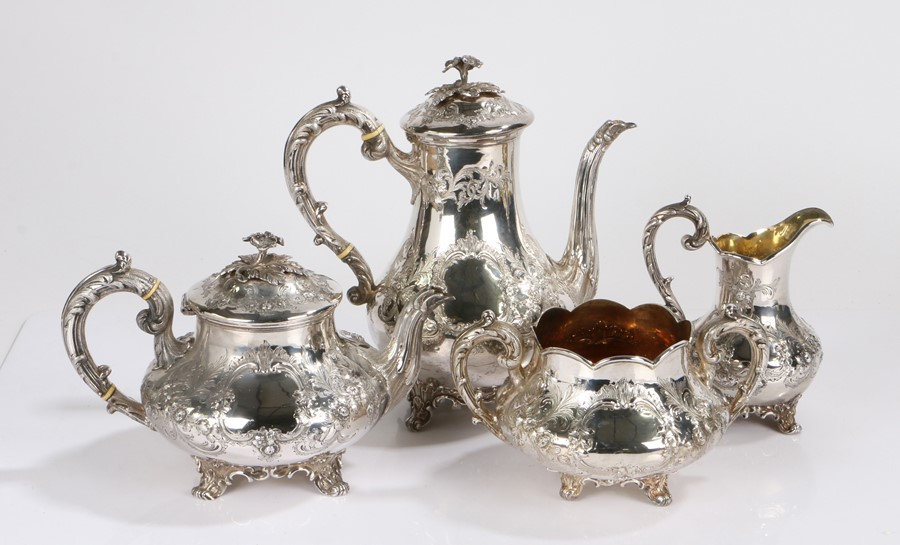 Victorian silver tea and coffee set, London 1865-67, maker William Robert Smily, comprising