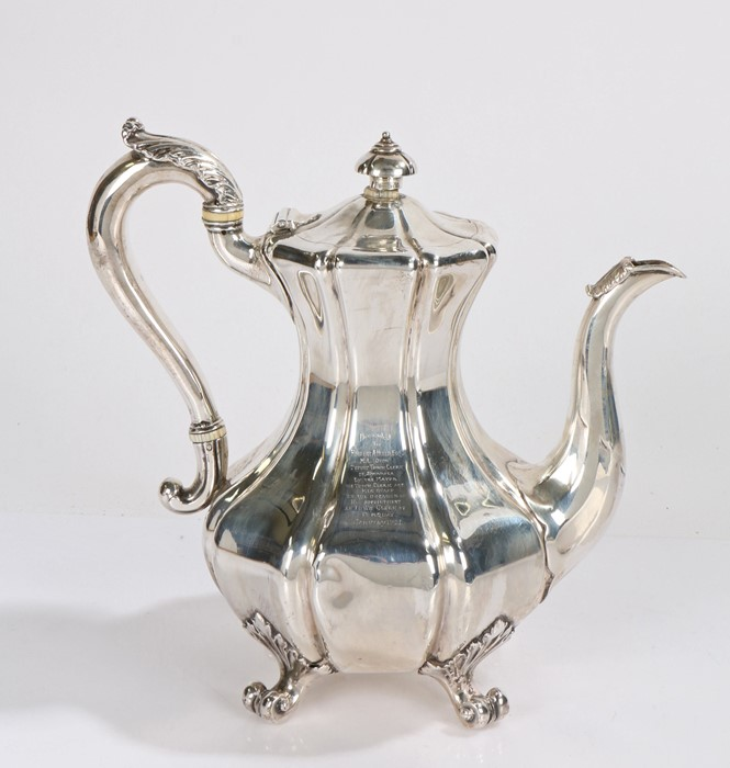 Victorian silver coffee pot, London 1842, maker John Mortimer & John Samuel Hunt, the bulbous