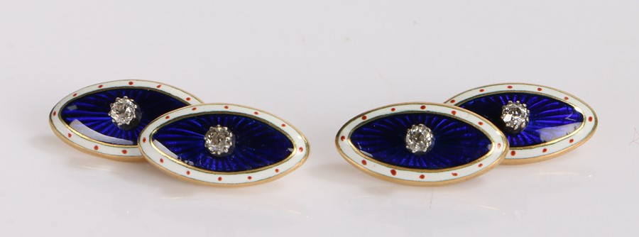 Pair of diamond and enamel cufflinks, the navette form cufflinks with a central round cut diamond
