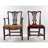 George III mahogany armchair, with an undulating top rail above a shaped splat and curved arms above
