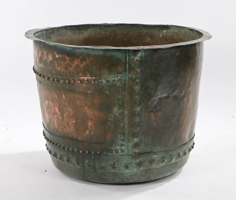 Large 19th Century copper log basket, with a rounded body and rivetted together, 65.5cm diameter,