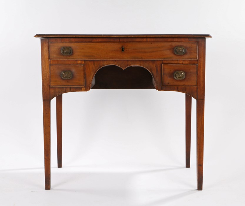 Regency mahogany lowboy, the rectangular top above a long drawer and two short drawers above