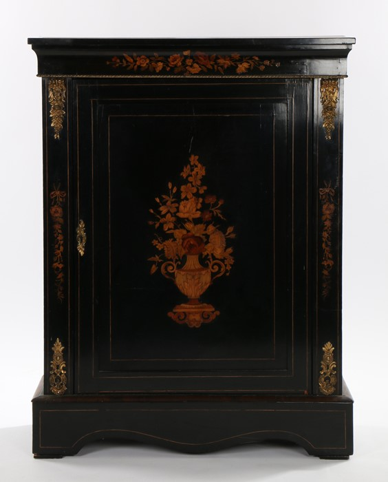 Victorian ebonised and inlaid cabinet, the rectangular top above a curved pediment with inlaid