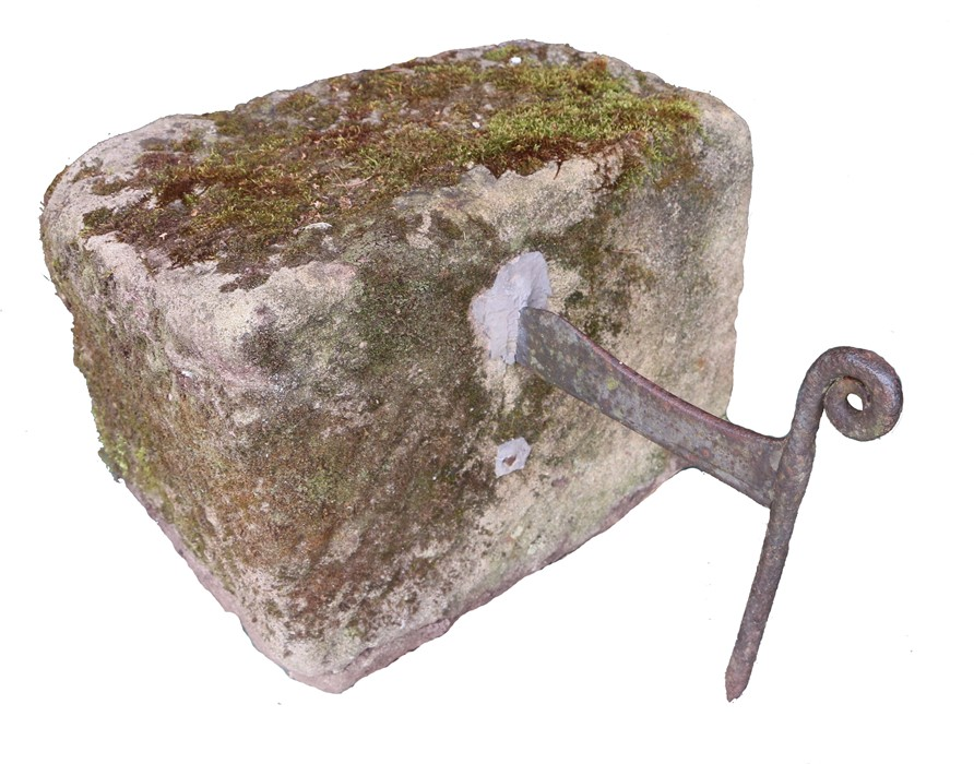 19th Century iron boot scraper, set within a composite block, 48cm wide, 39cm deep, 58cm high
