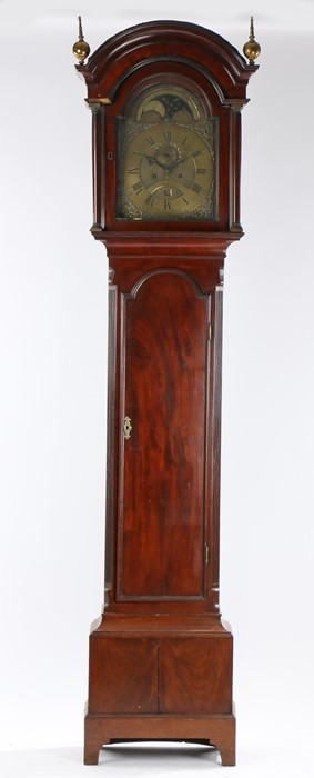 George III mahogany longcase clock, Thomas Wilmhurst, Deal, the arched hood above the arched