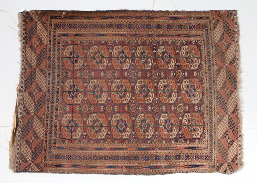 Semi antique Russian Bokhara rug, the red ground with elephant foot lozenge pattern centre, 140cm