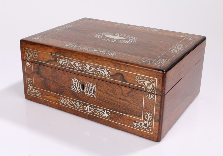 Victorian rosewood and mother of pearl inlaid sewing box, the rectangular box with foliate swag