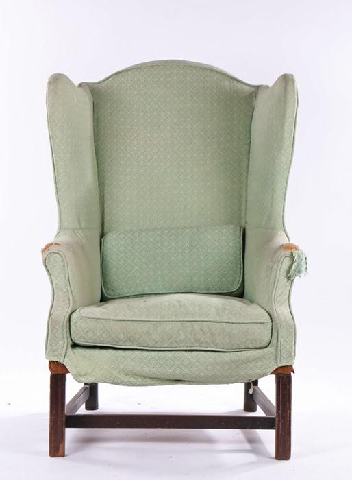 George III wingback armchair, the deep wingback, loose seat cushion and bolster cushion