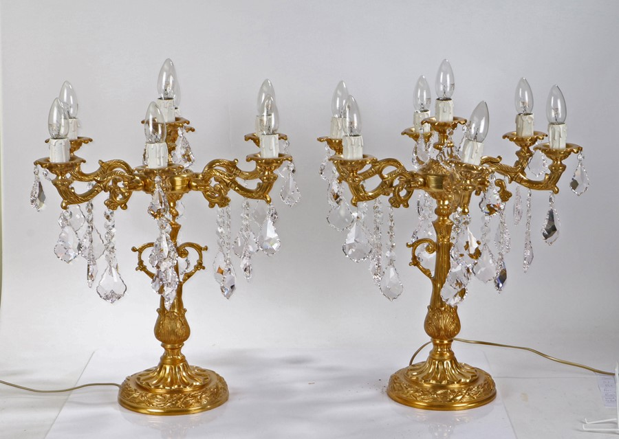 Pair of ormolu six branch candelabra reading lamps, each with central sconce and six scrolled