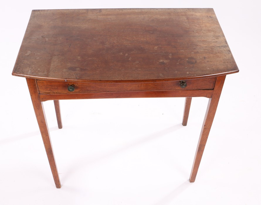 19th Century mahogany side table, the bow front top above a single frieze drawer and square - Image 2 of 2