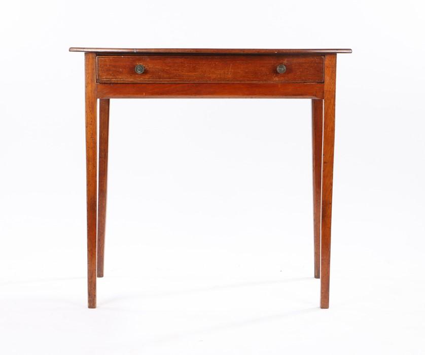 19th Century mahogany side table, the bow front top above a single frieze drawer and square