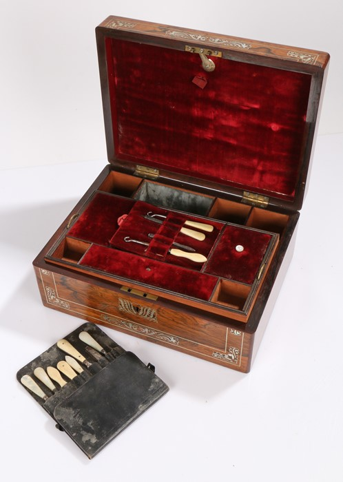 Victorian rosewood and mother of pearl inlaid sewing box, the rectangular box with foliate swag - Image 2 of 2