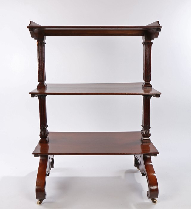 19th Century mahogany buffet, of narrow proportions, the top galleried to three sides above two