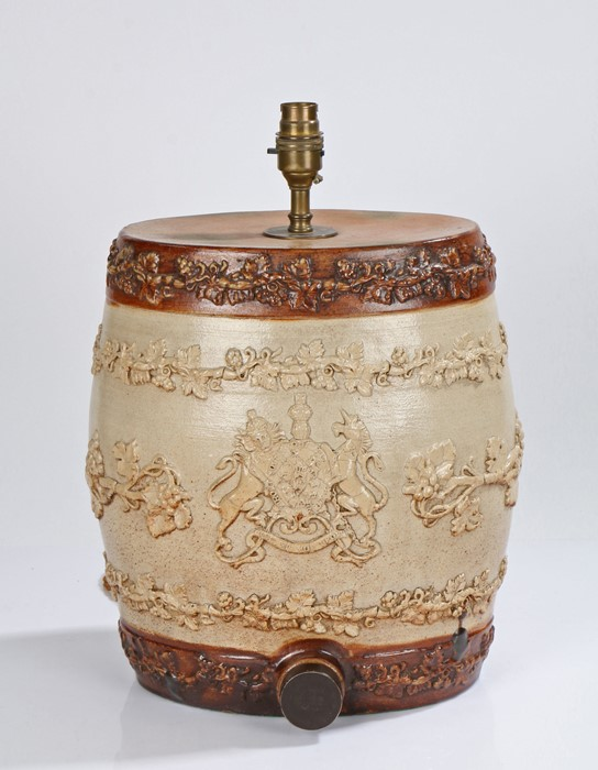 Royal Doulton rum barrel with applied decoration of the Royal coat of arms and trailing vines, now