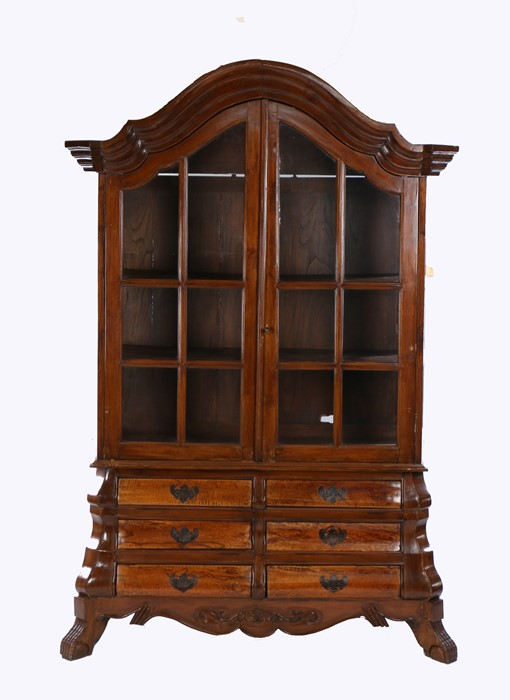 19th Century Dutch glazed bookcase cabinet, with an arched concave cornice above the glazed doors