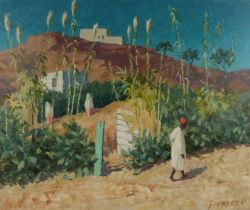 Alan Stenhouse Gourley, PROI (Scottish, 1909-1991) North African scene, signed oil on board, 75cm