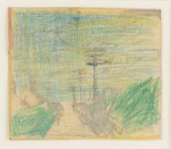 John Bratby (1928-1992) The Road to The West Country, unsigned ink and crayon, 9.5cm x 8.5cm