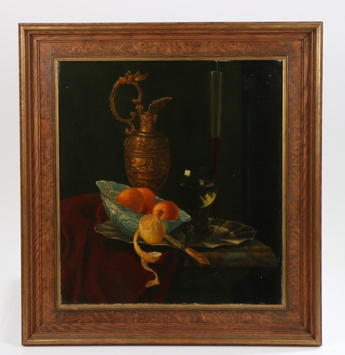 Dutch school, 19th Century still life with a bowl of fruit, a roemer, glass of wine and a jug on a