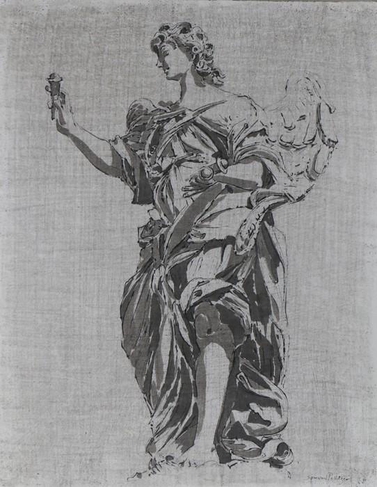 Sigmund Pollitzer (British, 1913-1982) Statue of Bernini-Ponte Rome, signed and dated 71, pen and