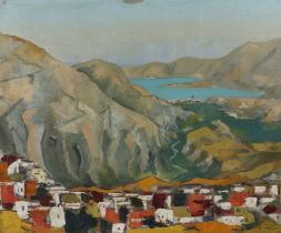 Detmar (Contemporary) Town nestled in a valley leading to the sea, signed oil on canvas, 66cm x
