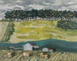 J Beytagh, 20th Century, Farm near a river and a treeline on the horizon, signed and dated 67 oil on
