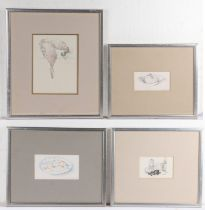 Martin Mackeown, (contemporary) four pencil sketches, to include a dish, a plate of food, still life
