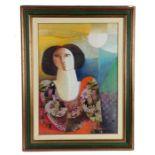 Vittorio Maria di Carlo (Italian 1939-2015) Portrait of a lady, signed oil on canvas, dated 1984,