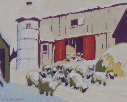 Herbert Sidney Palmer (Canadian 1881-1970) Sheep by a farm, silkscreen print, 11.5cm x 9cm