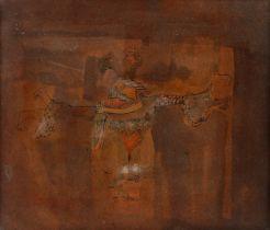 Geza Szobel (1905-1963) Les Amoureux, watercolour, 20cm x 17cm