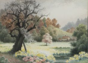 Albert George Stevens (1863-1925), landscape scene of a field of flowers with farmhouse to the