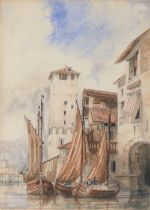 C A D (mid 19th Century) River scene in a Continental town, signed with initials and dated 1842,