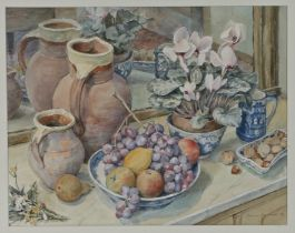 Joanna Dunham (20th Century) Winter Fruit and Flowers, pencil signed and dated 93 watercolour,