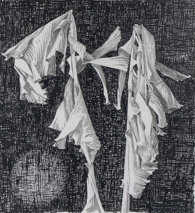 Sigmund Pollitzer (British, 1913-1982) Cloth, signed and dated 54, pen and wash, 57cm x 65cm Born in