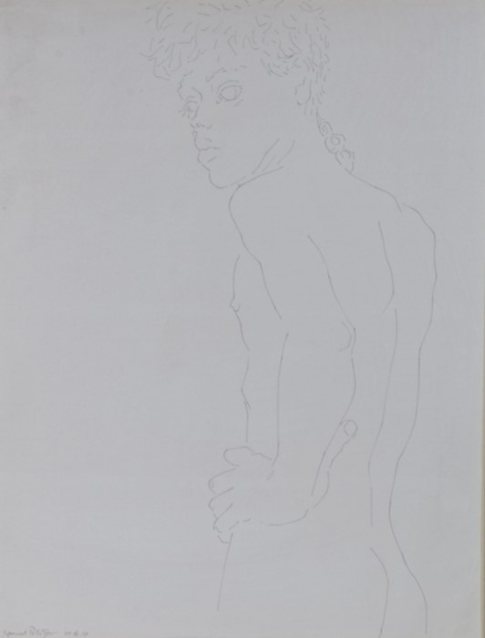 Sigmund Pollitzer (British, 1913-1982) Male Nude, signed and dated 57, pen and ink, 46cm x 60cm Born