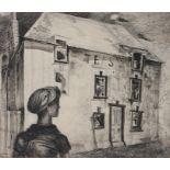 Sigmund Pollitzer (British, 1913-1982) Tea Shop, signed and dated 46, pen and ink, 45cm x 37cm
