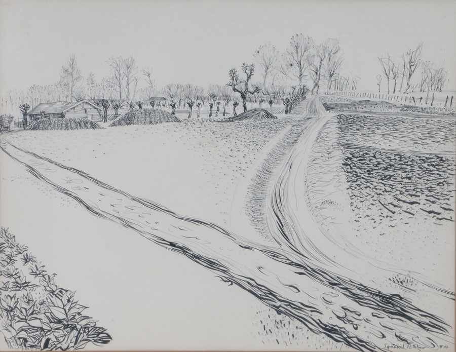 Sigmund Pollitzer (British, 1913-1982) Lane, signed and dated 47, pen and ink, 56cm x 43cm Born in