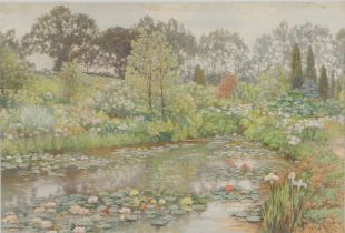 Thomas Henry Hunn (1857-1928) Water Garden at Wisley Surrey, signed and dated watercolour 1905, 49cm