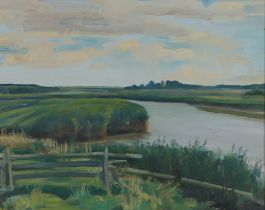 """Richard John Munro Dupont (1920–1977), """"Iken"""", signed oil on board, housed in a white and gilt"""
