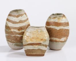 Sara Radstone, three studio vases, each with with rows of colour, two example having a faint V mark,