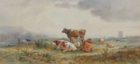 Henry I Earp (1831-1914), landscape scene with cattle and windmill, signed watercolour, housed in