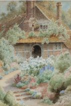 Albert George Stevens (1863-1925), country house with lillies, indistinctly titled to the reverse,