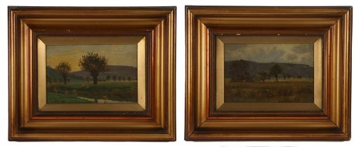 E Kent (early 20th Century British school) pair of landscapes, Trees by a river and Trees in a