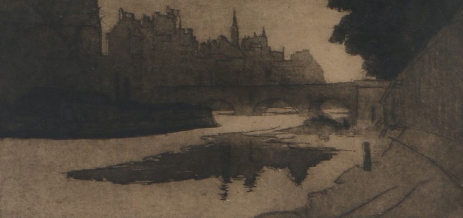 E Fell, Continental townscape, engraving, pencil signed, 35cm x 18cm