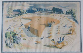 After John Nash, RA (1893-1977), coloured print 'Harvesting', printed at the Baynard Press for
