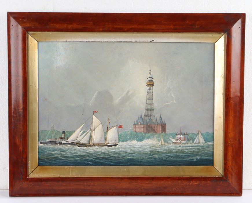 19th Century British School, New Brighton Tower, with a ship at sail and a steam ship to the left,